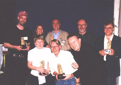Winners of the 1998 BFS awards, with their 'gorgeously ugly' statuettes